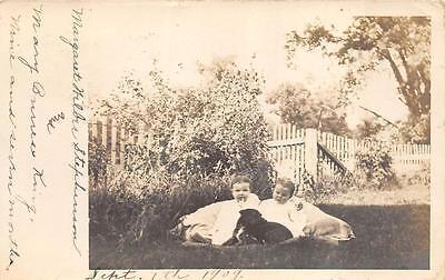 RPPC BABIES & DOG CLUB HALLOWEEN PARTY REAL PHOTO POSTCARD 1909 (Halloween Nightclub Photos)