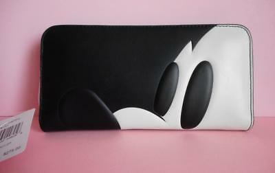 Coach Disney X Profile Mickey Mouse Black Accordion Zip Around Wallet NWT