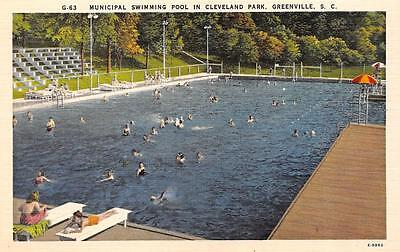 GREENVILLE, SC  South Carolina  SWIMMERS IN POOL Cleveland Park c1940's Postcard - South Carolina Pool