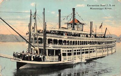 EXCURSION BOAT J.S. ON MISSISSIPPI RIVER INDIANA POSTCARD 1912
