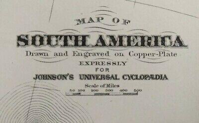 Vintage 1874 SOUTH AMERICA Map 13