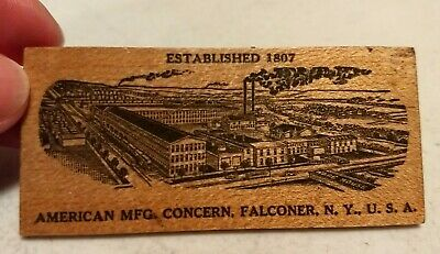 Vtg American MFG Concern Falconer NY Jas Peterson Advertising Wood Business Card