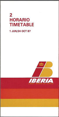 Iberia Airlines Of Spain System Timetable 6 1 87  7103