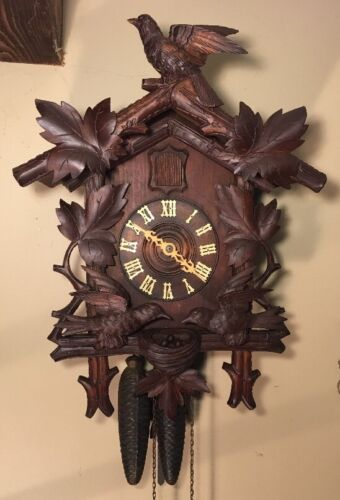 Early German Black Forest Animated Moving Nesting Birds Cuckoo Wall Clock