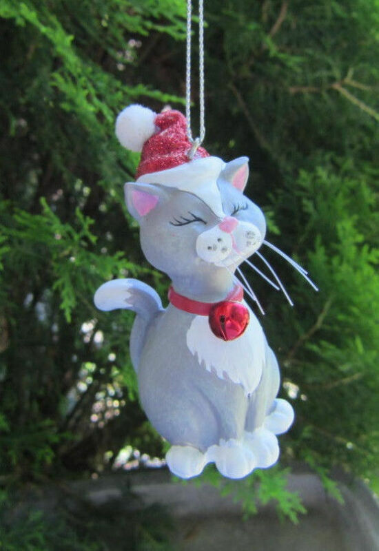 CLEARANCE..CAT w/Santa Hat GRAY & WHITE Kitty Resin Christmas Ornament