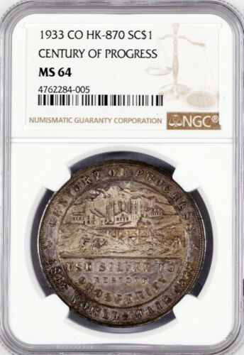 1933 Century of Progress Medal - Silver Colorado, HK-870, MS64 NGC - Token