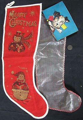 2 Vintage 1950's Merry Christmas & Dog Stockings