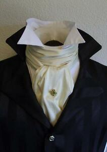 Wholesale-Regency-Victorian-Ascot-Cravat-Tie-Ivory-Dupioni-Silk-6x52
