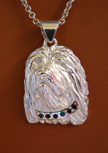 Large Sterling Silver Bearded Collie Head Study With Emerald Green Collar Pendan