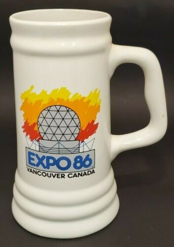 """Expo 86 Ceramic Beer Mug Stein Vancouver Over 8"""" Tall"""