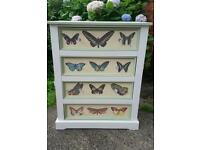 Stunning upcycled chest of drawers storage unit furniture green cream and white shabby chic