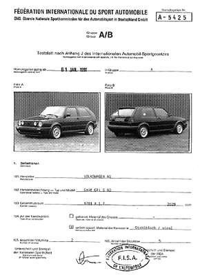 VW Golf G60 - Gruppe A - Homologation - Rallye / Racing / Parts - Motorsport