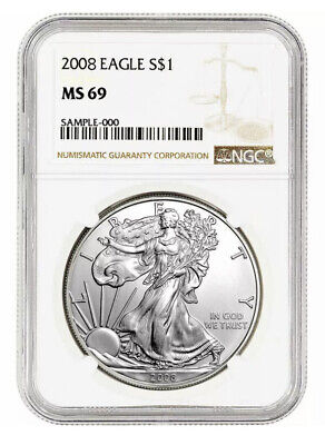 2008 $1 American Silver Eagle NGC MS69 Brown Label