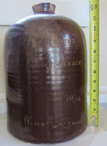 Stoneware Liquor Advertising Scratch Jug - C - 1890 - Vicksburg, Miss