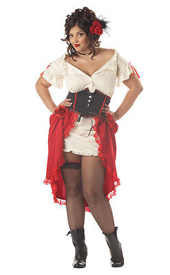 Cantina Saloon Gal Girl Latina Mexican Senorita Women Costume Plus - Saloon Gal Costume