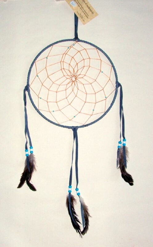 """10"""" hoop Dreamcatcher Authentic Native American Indian made GRAY #31"""