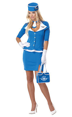 60s Retro Stewardess Adult Costume Sexy Airplane Flight Attendant](Retro Air Hostess Costume)