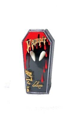 weiße Vampirzähne im Sarg Eckzähne Vampir Halloween Party Grusel
