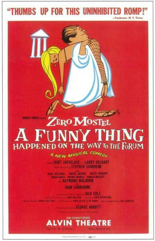 A FUNNY THING HAPPENED ON THE WAY TO THE FORUM (BROADWAY) Movie POSTER 14x22