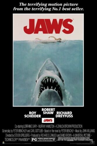 JAWS ~ SHARK 24x36 MOVIE POSTER Steven Spielberg Great White NEW/ROLLED!