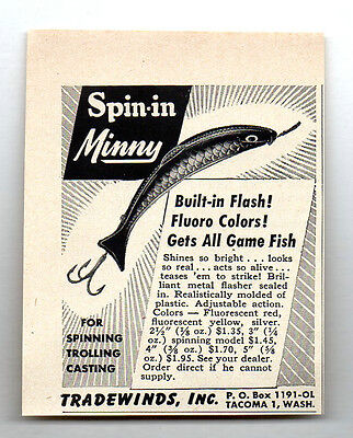 1954 Vintage Ad Spin-In Minny Fishing Lures with Built in Flash Tradewinds Inc