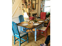 Shabby Chic Vintage 1930's-40's solid Oak drawleaf dining/Kitchen table