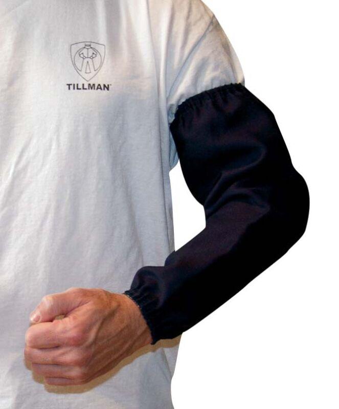 "Tillman 6218B 18"" 9 oz. Navy FR Cotton Welding Sleeves Elastic at Both Ends"