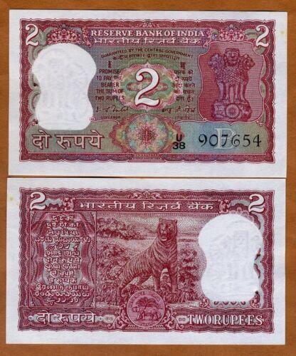 India, 2 Rupees, ND, P-53e, Ch. UNC > Red Tiger