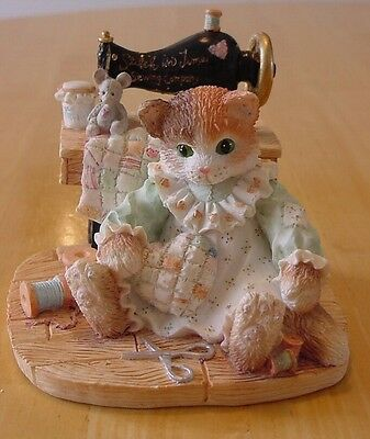 "CALICO KITTENS ""STITCH in TIME"" LIMITED ED AUTOGRAPHED Cat Sewing 1994 with Box"