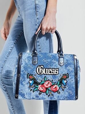 NEW GUESS BLUE BADLANDS EMBROIDERED DENIM SATCHEL BAG HANDBAG