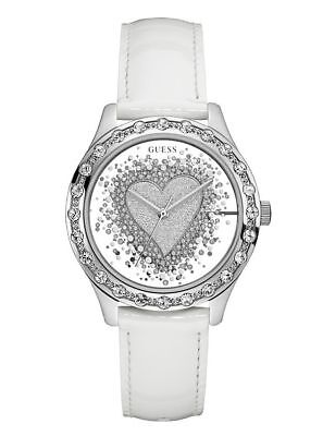NEW GUESS SILVER TONE,HEART CRYSTAL MIRROR DIAL,WHITE LEATHER BAND WATCH-U0909L1