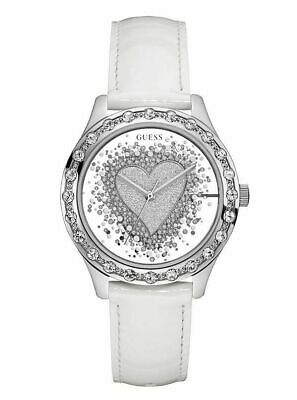 GUESS 38mmSILVER TONE,HEART CRYSTAL MIRROR DIAL,WHITE LEATHER BAND WATCH U0909L1
