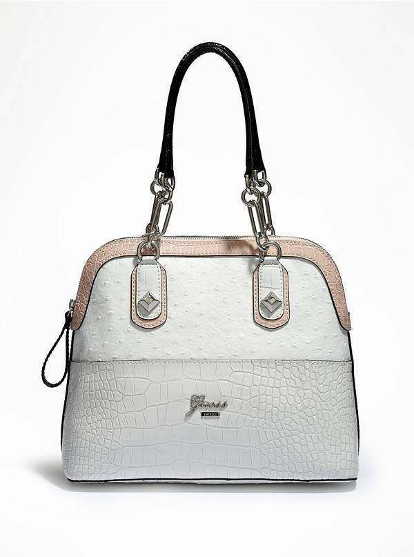 ANNEZ DOME SATCHEL Dual chain Handbag for Women's, White