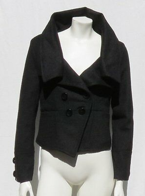 BETTER B Women's Black Boucle Big Collar Short Fitted Jacket Coat size S M