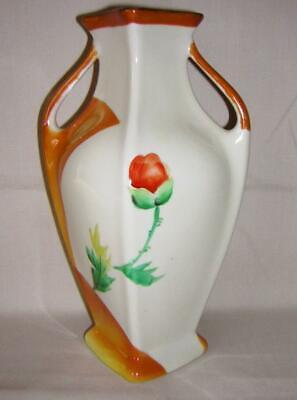Noritake Vase 2 Gold Handles Salmon Red-Orange Poppies Classic Shape Gold Lustr  - $54.95