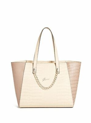 NEW GUESS SAND FRUITFUL CROC EMBOSSED TOTE BAG HANDBAG PURSE