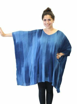 Modesce Hand Painted Tunic Poncho Caftan Top OVERSIZED Plus Size Cascading Navy