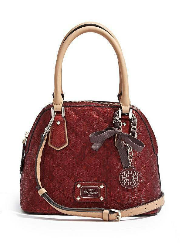 JULIET AMOUR METALLIC DOME SATCHEL Removable Chain Handbag f