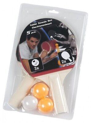U012 5 tlg. Tischtennis Set mit 2 Schlägern und 3 Bällen