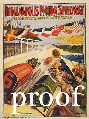 Indianapolis Indy 500 Auto Racing SpeedWay Vintage Automobile Car Ad Print 1909