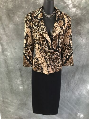 BEAUTIFUL St John collection knit jacket Black beige tan suit blazer size 10