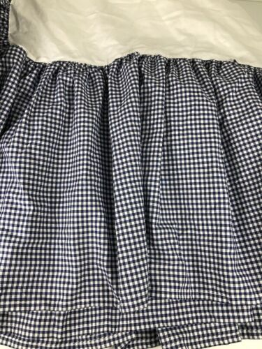 "Pottery Barn Kids Queen Bedskirt Dust Ruffle Blue & White Gingham Check 14"" Drop"