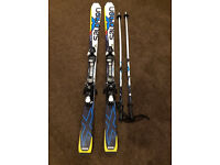 Boys / girls salomon skis, 140cm, plus poles and bindings
