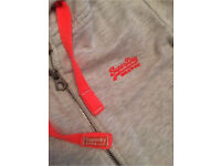 Ladies Pale Grey Superdry Hoodie Top Size L (10/12) RRP £65 Worn but in great condition