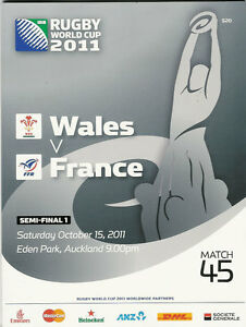 WALES v FRANCE SEMI FINAL RUGBY WORLD CUP 2011 PROGRAMME MATCH no 45