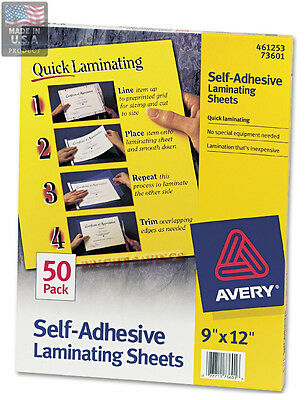Avery Clear Self-adhesive Laminating Sheets 3 Mil 9 X 12 50 Per Box