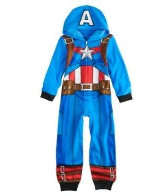 Marvel Captain America Costume Union Suit OnePiece  Hooded Pajama Kids Size 6-12
