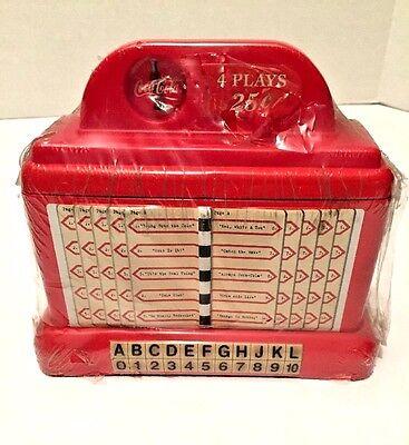 Red Coca Cola Coke Juke Box Bank Treasure Box Tin Plastic Sealed NOS Bright Lift