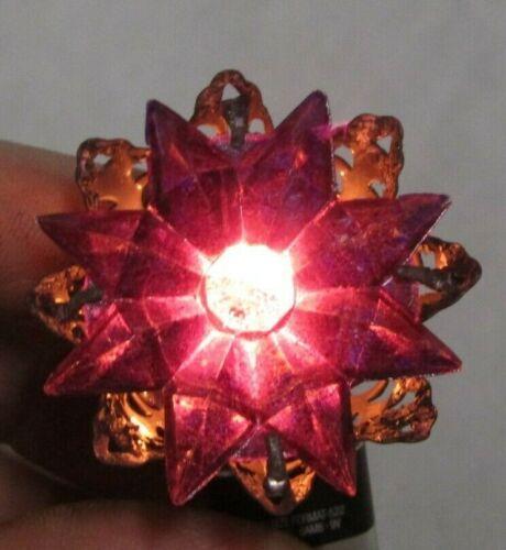 Japan C6 Purple Rosette Nippon Star Christmas Light Antique Tested Working 1930s