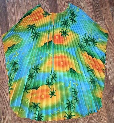 ~Vintage Women's Hawaiian Fan Pleats Poncho Shirt Top Palm Tree Birds OS